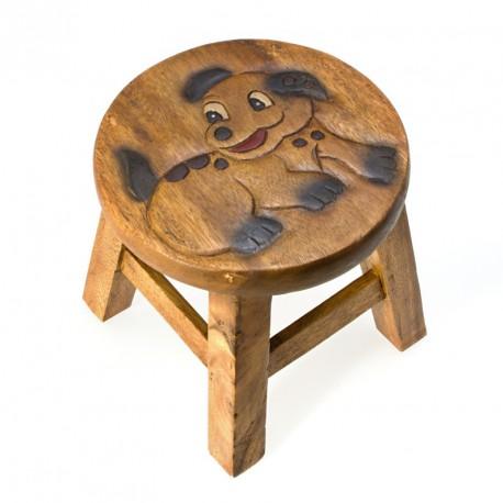 Dřevěná dětská stolička - pejsek smějící