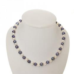 Perlový náhrdelník šedo, modro-bílý