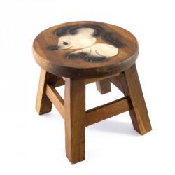 Dřevěná dětská stolička - BÍLÁ MYŠ