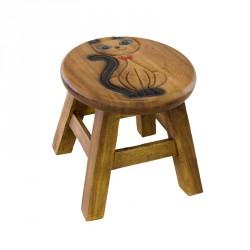 Dřevěná dětská stolička - kočka dáma