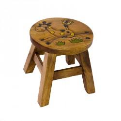Dřevěná dětská stolička - žlutá žirafa II