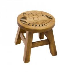 Dřevěná dětská stolička - mazlící se kočky