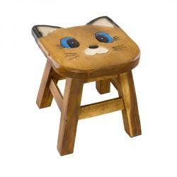Dřevěná dětská stolička - kočka modroočka