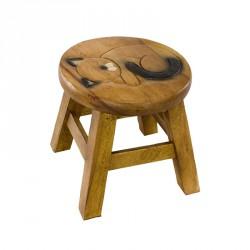 Dřevěná dětská stolička - SPÍCÍ KOČKA