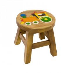 Dřevěná dětská stolička - oranžová mašinka