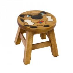 Dřevěná dětská stolička - buldok s kostí