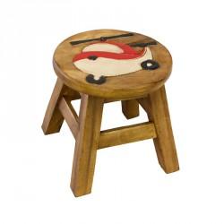 Dřevěná dětská stolička - červený vrtulník