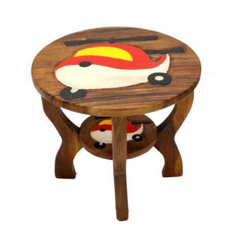 Dřevěný stolek s obrázkem