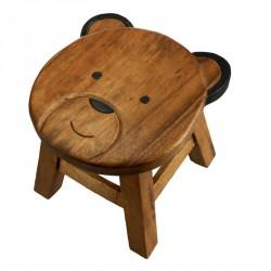 Dřevěná dětská stolička - hlava mědvěda