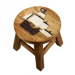 Dřevěná dětská stolička - PLACHETNICE PIRÁTSKÁ VLAJKA