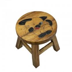 Dřevěná dětská stolička - KOČIČKA MRKACÍ