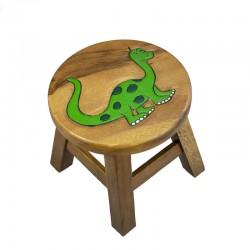 Dřevěná dětská stolička - DINOSAURUS ZELENÝ