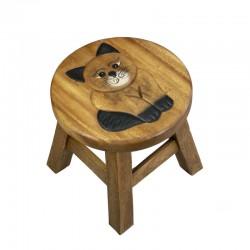 Dřevěná dětská stolička - kočka baculka