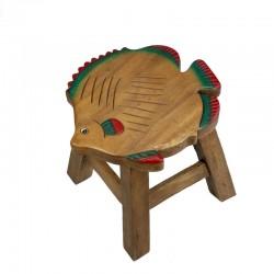 Dřevěná dětská stolička - barevná ryba