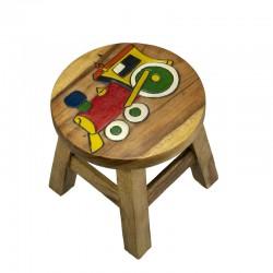 Dřevěná dětská stolička - červená mašinka