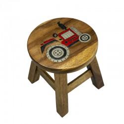 Dřevěná dětská stolička - TRAKTOR ČERVENÝ