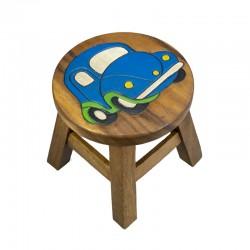 Dřevěná dětská stolička - auto modré