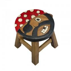 Dřevěná dětská stolička - kočka spící
