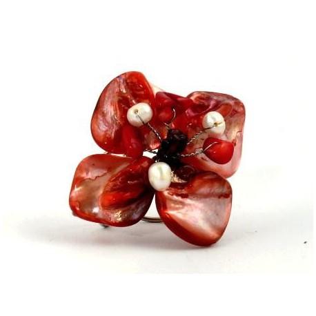 Prsten - červený květ