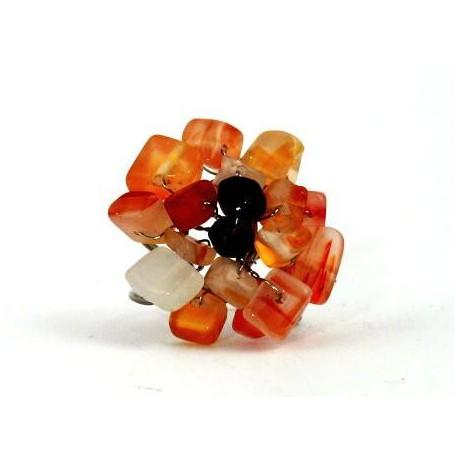 Prsten - oranžové kamínky
